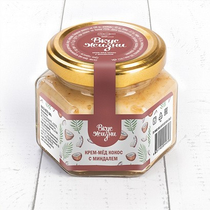 Крем-мёд кокос с миндалем Вкус Жизни New 100 гр.